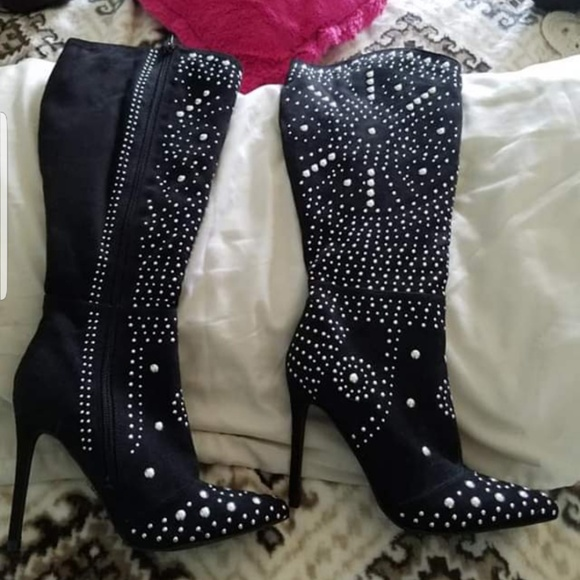 1199a14f7 Shoe Dazzle Shoes | Black Studded Mid Calf Stiletto Boots | Poshmark
